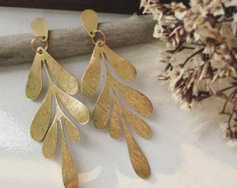 Brass Leaf Earring // Gold Statement Earrings, Brass Earrings, Geometric Earrings, Gold Leaf Earrings, Brass Statement Earrings, Gifts