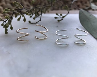 Spiral Earrings // Gold Hoops, Small Gift, Tiny Hoop Earrings, Huggie Earrings, Cartilage Hoop, Spiral Hoop Earrings, Twists Gold, Hoops