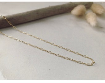 Gold Paperclip Necklace // Dainty Gold Necklace, 14k Gold Filled Necklace, Rectangle Link Necklace, Layered Necklace, Minimalist Necklace