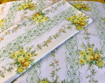 SALE Vintage 2 Standard Pillowcases Remix Bed Sheets Bedding Retro Linens  Fabric Floral Made In USA