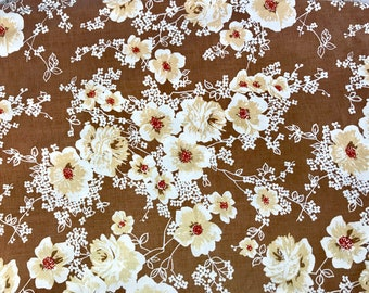 SALE Vintage twin fitted sheet remix bed sheets bedding retro linens brown floral crafts fabric made in USA
