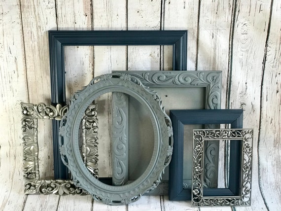 Picture Frame Set Size Range 4x6 8x10 Gray Navy And Silver Etsy