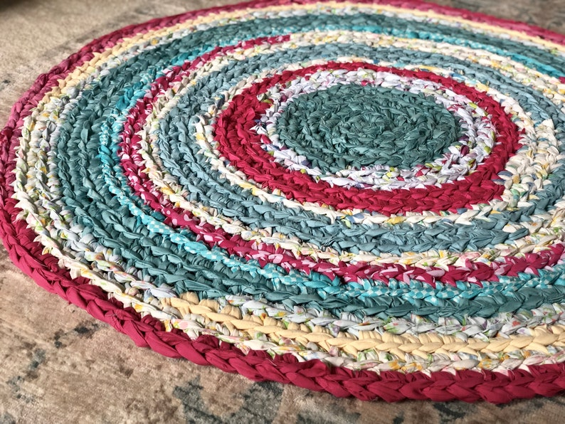 Round Nursery Area Rug Recycled T Shirt And Textiles Yarn 3 Feet Pink And Aqua Rug