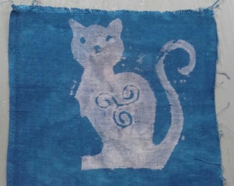 Printed cat on dyed indigo vintage fabric