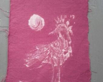 Printed crow and moon on vintage fabric