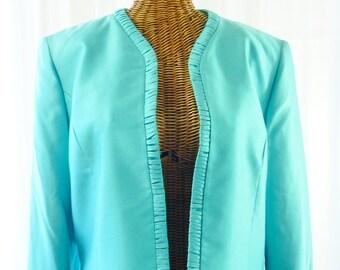 Silk Jacket Nipon Boutique Ruffle Front Unworn Size 12