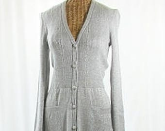 Metallic Thread Long Wool Sweater Dress Vintage G. Ferri Size 16