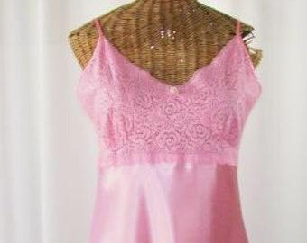Pink Short Nightgown Lace Bodice Satin Body Unworn Medium e613039c4