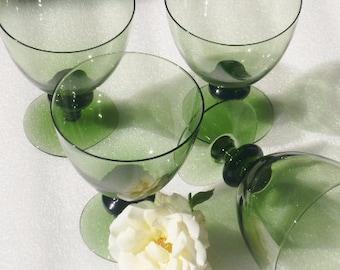 Orrefors Swedish Crystal Water Glasses Disc Stemware Green