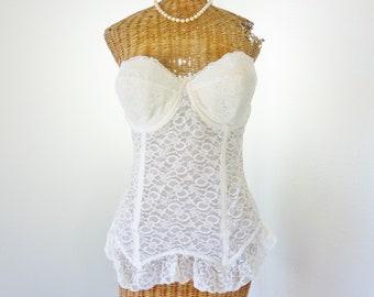 f056ae25b504c6 White Lace Bustier by Goddess Longline Garter Metal Hook Back 36D