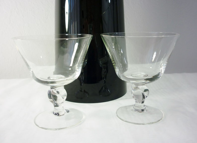 Modernist Russel Wright Pair Twist Stemware Imperial Glass Co 1950s