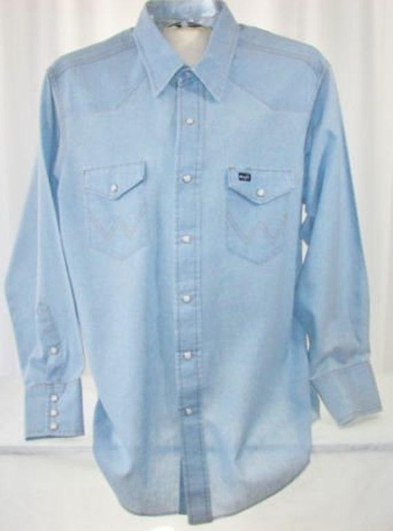 Men's Denim Work Shirt by Wrangler Light Blue Pear