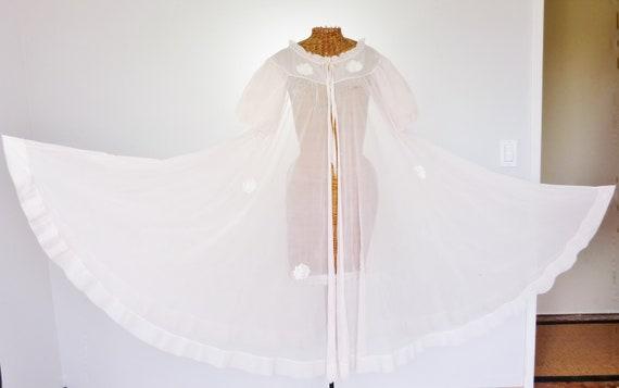 """Vanity Fair Chiffon Sheer Pink Robe 290"""" Hemline 4"""