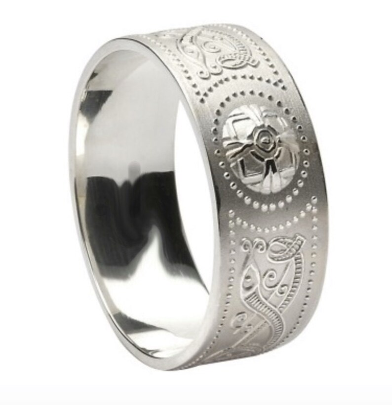 Irish Wedding Rings.Celtic Warrior Shield Pattern Irish Wedding Rings Sterling Silver Celtic Pattern Band Ring Wedding Ring Band Unisex Handmade