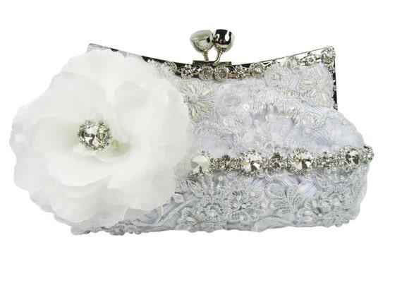 White Bridal Clutch Bridesmaid Clutch Purse Beaded Evening  fd4ef24c6e1c8