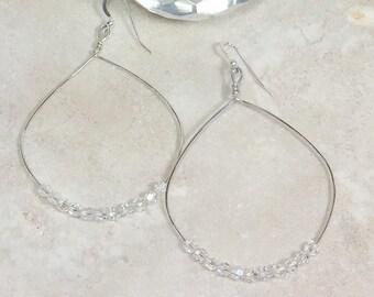 Large hoop earrings, silver hoop earrings, big earrings, crystal hoops, boho earrings sister, lightweight earrings, simple earrings