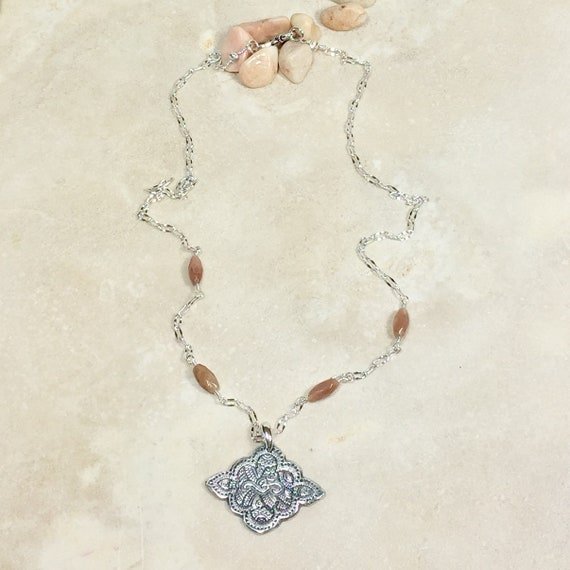 Silver Om Symbol Necklace Zen Minimalist Necklace Silver Etsy