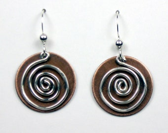 Antiqued Copper and Silver Spiral Circle Earrings