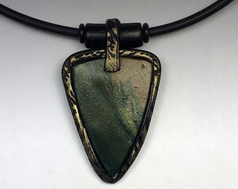 Polymer Clay Pendant Necklace with Textured Bezel