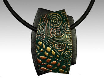 Polymer Clay Pendant Necklace Freeform Dimensional Design in Green, Copper, Gold, and Black