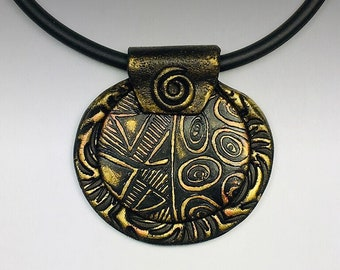 Polymer Clay Oval Textured Pendant Necklace Black with Gold and Copper
