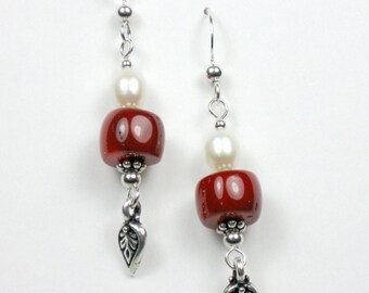 Coral and Freshwater Pearl Earrings