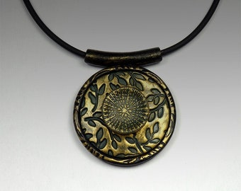 Polymer Clay Pendant Necklace Green and Gold Leaf Design
