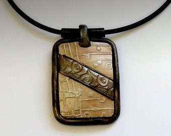 Polymer Clay Pendant Necklace Textured Bronze and Peach Tones
