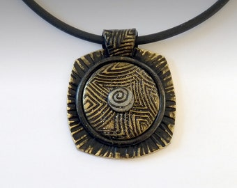 Polymer Clay Pendant Necklace Black and Gold