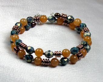 Persian Turquoise Fire Polish, Carnelian and Bronze Memory Wire Bracelet