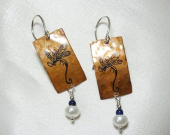 Copper Earrings with Dragonfly and Freshwater Pearl