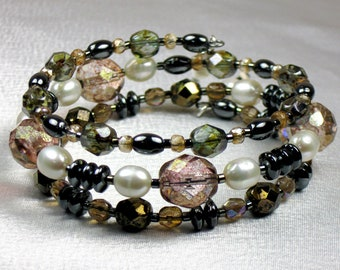 Neutral Bronze, Gray and Pale Peach Memory Wire Bracelet w/ Freshwater Pearls