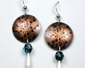 Antiqued Copper Circle Earrings with Topaz Blue Glass