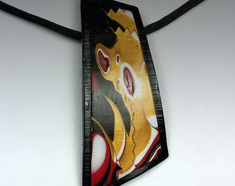 Polymer Clay Pendant Necklace Mokume Gane Design in Freeform shape. Black, Gold, Red, & White