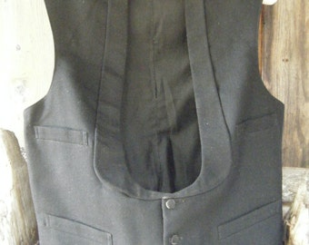Vintage 1800's early 1900's Wool Black WAIST COAT  Vest  Chest 40