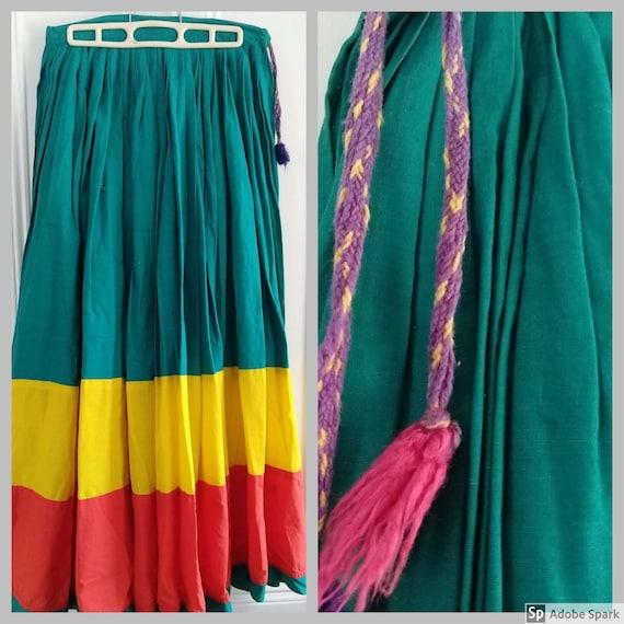 1970s Vintage, Mexican Circle Skirt, Maxi Circle S