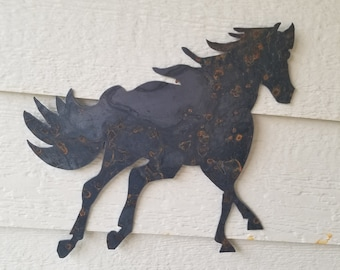 Rustic Horse Silhouette recycled steel horse custom equestrian wall decor