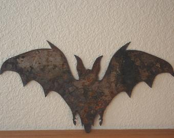 Rustic Bat In Flight  Gothic Vampire Recycled Steel Custom Metal Bat