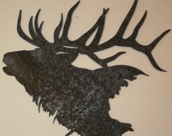 Majestic Elk Silhouette recycled steel Elk head Custom metal Elk wall art