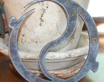 Rustic Yin Yang custom zen metal Recycled Steel Yoga Spiritual decor