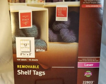Removable shelf tags, white price labels for laser printer, library signage, inventory stickers, retail sales display markers
