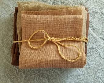 Brown burlap fabric bundle, natural utility fabric, fall crafting, rough material, autumn wedding decor, 2 yards, reception decoration