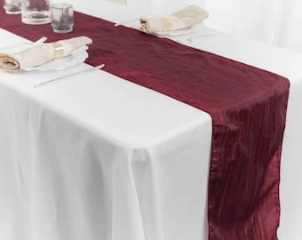 Wine colored crinkle taffeta wedding table runner, burgundy shimmer buffet scarf, long narrow console tablecloth, textured centerpiece decor