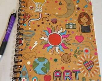 Spiral Art Journal, leather like artist sketchbook, multicolor doodle Notebook, hand painted fabric smash book, gift for designer sketchpad