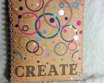 Creativity junk Journal, brown kraft artist sketchbook, multicolor Spiral Notebook, 7 x 10 fabric smash book for Designer, gift for crafter