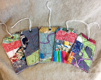 Fabric scrap bin hang tags, multicolor basket labels, gift tags, shabby chic quilted package labels, junk journal fiber art bookmark