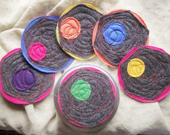 Multicolor Coaster set with holder, as SEEN ON TV, reversible felt coasters, neighbor housewarming gift, office gift exchange ideas