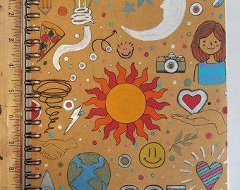 Spiral Art Journal, leather like artist sketchbook, multicolor dream Notebook, hand painted fabric smash book, gift for designer, sketch pad