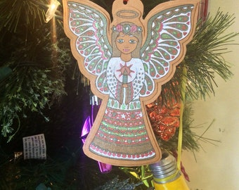 Sparkly Angel ornament, gift topper, Christmas ornament, gift tag, Teacher gift, wine bottle tag, tree ornament, Youre my angel, for Mom