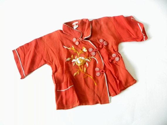 1940s/50s Japanese Silk Embroidered Child's Pajama